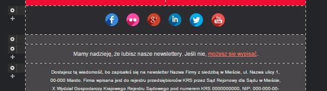 Link rezygnacji w FreshMail Designer
