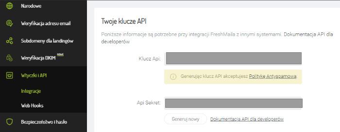 Klucz API we FreshMailu