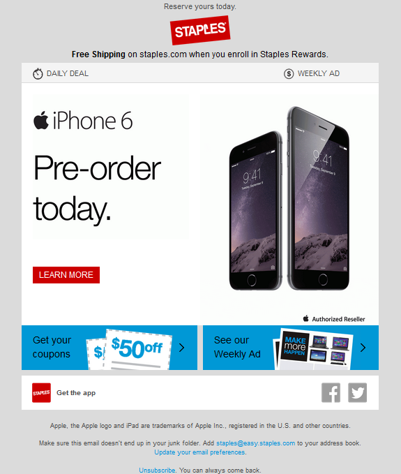 iPhone 6 newsletter