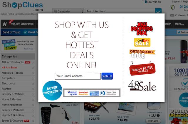 popup shopclues.com