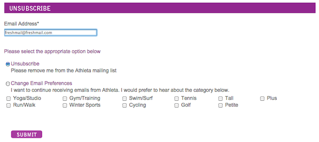 Unsubscribe Athleta