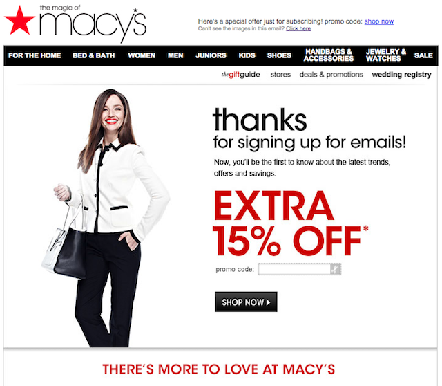 Confirmation email: Macy's