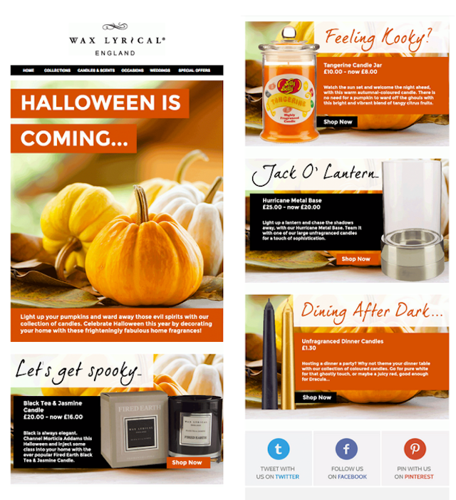 halloween newsletter ideas - wax lyrical