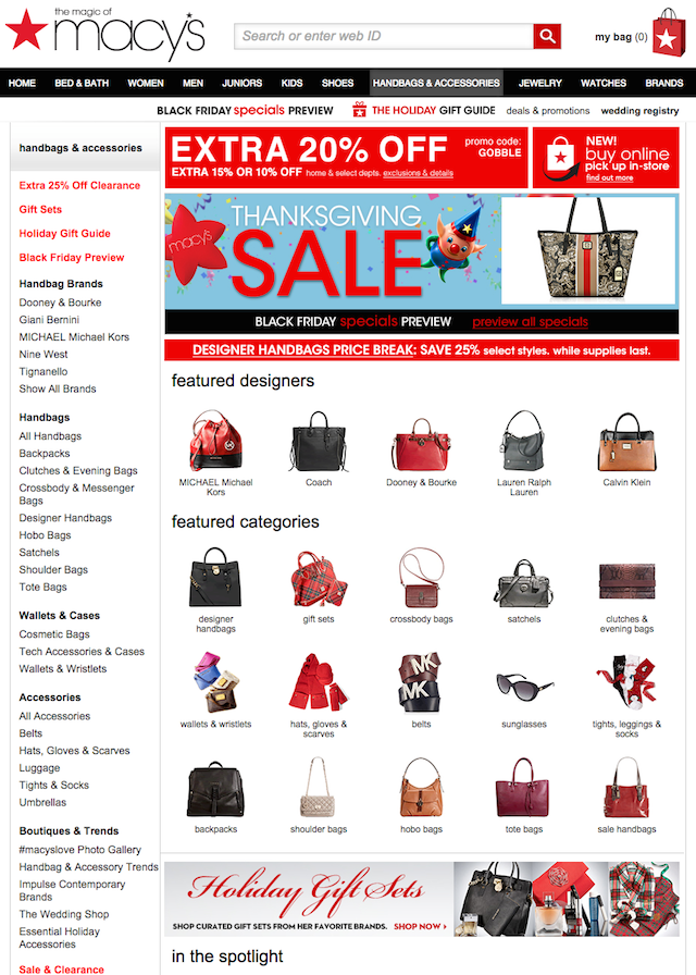 Landing page: Macy's