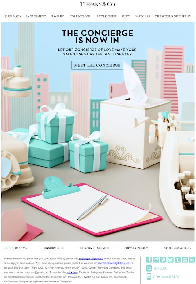 Tiffany Valentine's Day newsletter