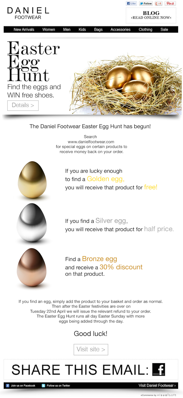 Daniel Footwear Easter newsletter