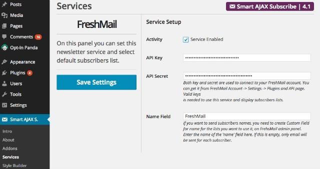 Integracja Smart AJAX Subscribe z FreshMail