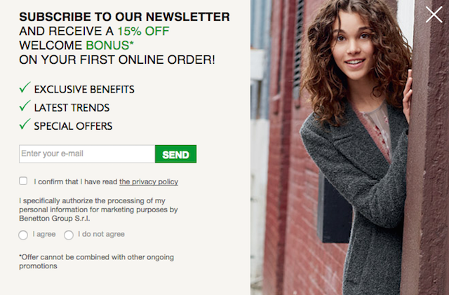 Source: Sign-up form United Colors of Benetton