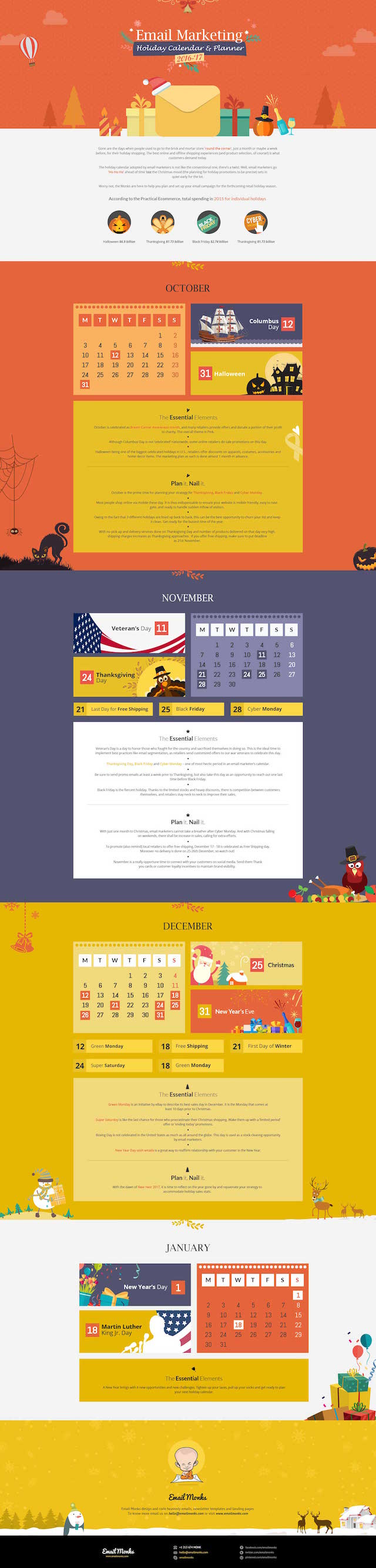 Holiday Email Marketing Calendar 2016-17 Infographic