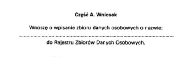 Wzór zgłoszenia zbioru danych do rejestracji w Giodo