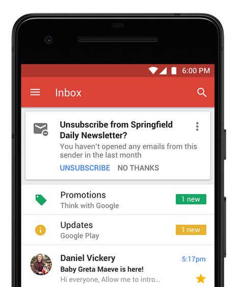 Gmail sugeruje wypis z newslettera
