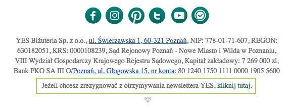 Link rezygnacji z newslettera powinien pojawić się w każdym mailu