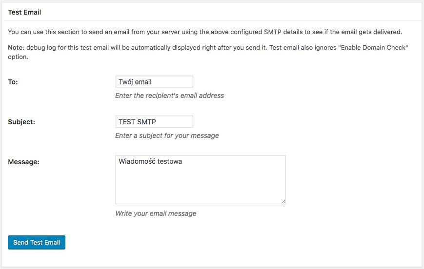 Wysyłka testowego emaila z WordPress po SMTP