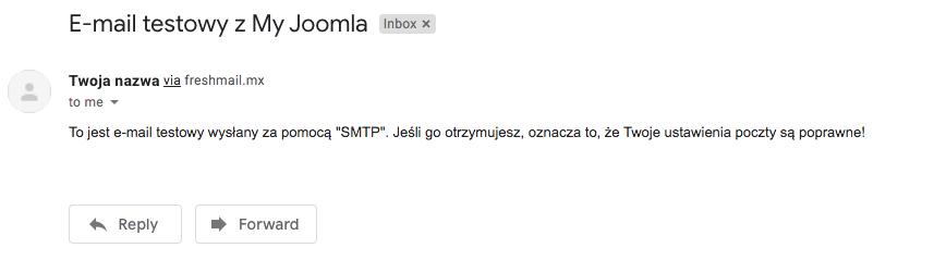 Screen emaila potwierdzającego integrację z Joomla
