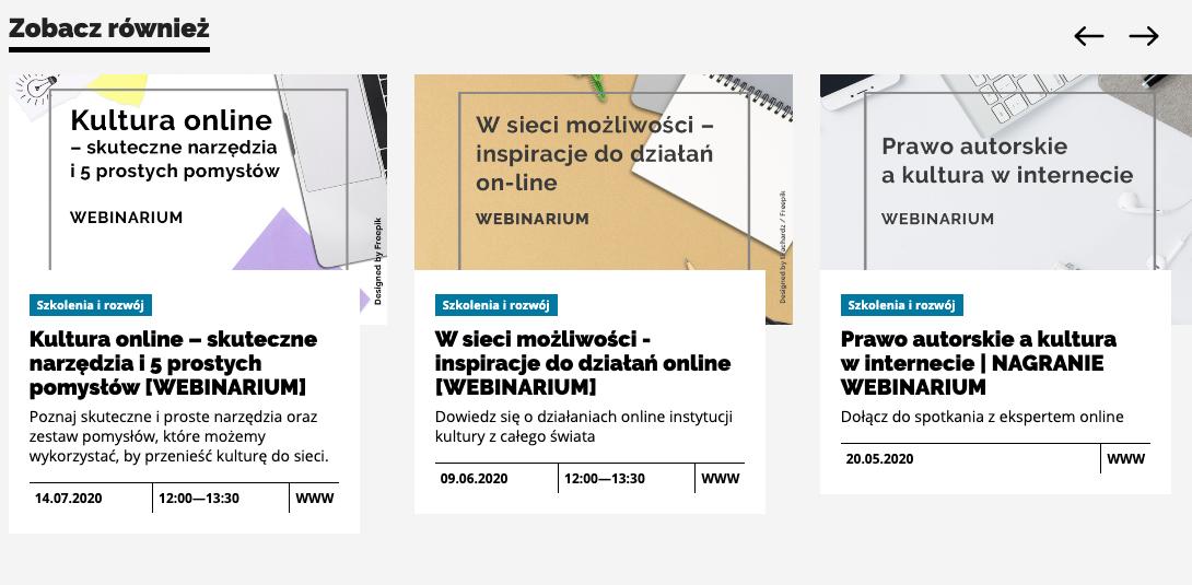 Webinary przygotowane dla branży kulturalnej