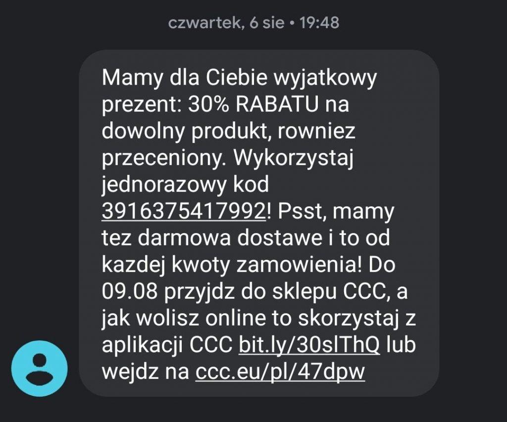 Przykład dłuższego smsa marketingowego