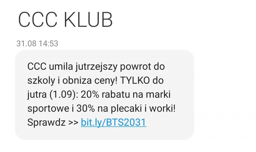 przykład SMSa marketingowego z wezwaniem do działania