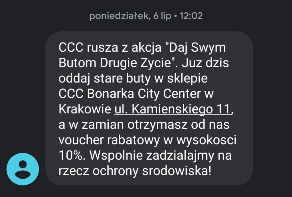 Przykład SMSa promocyjnego od CCC.