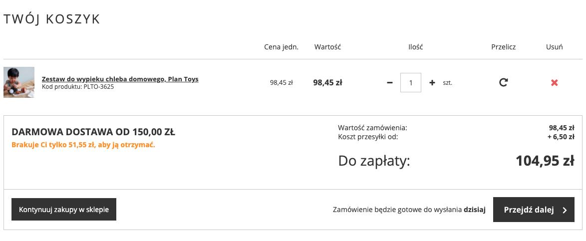 Przykład, jak sklep internetowy informuje o kwocie brakującej do darmowej dostawy