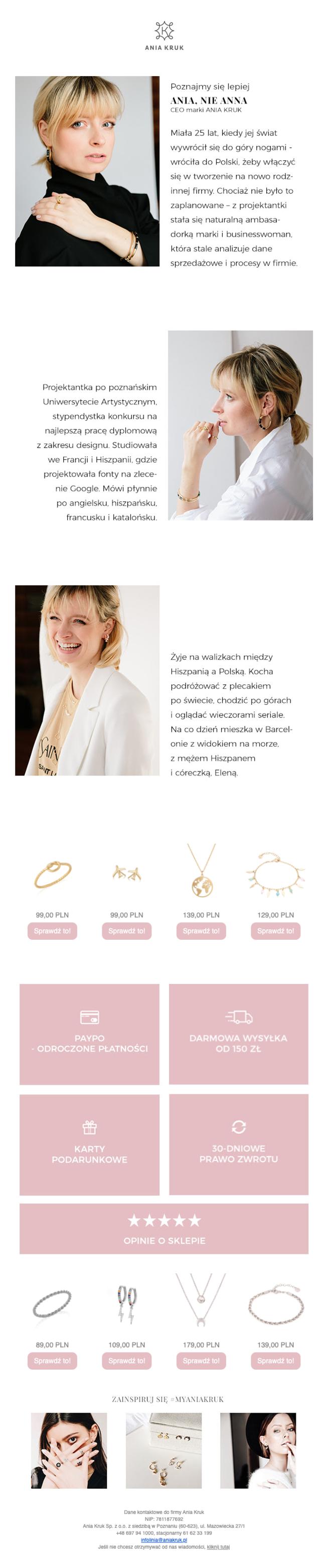 newsletter - przykłady, co wysłać w newsletterze: opowieść, Ania Kruk