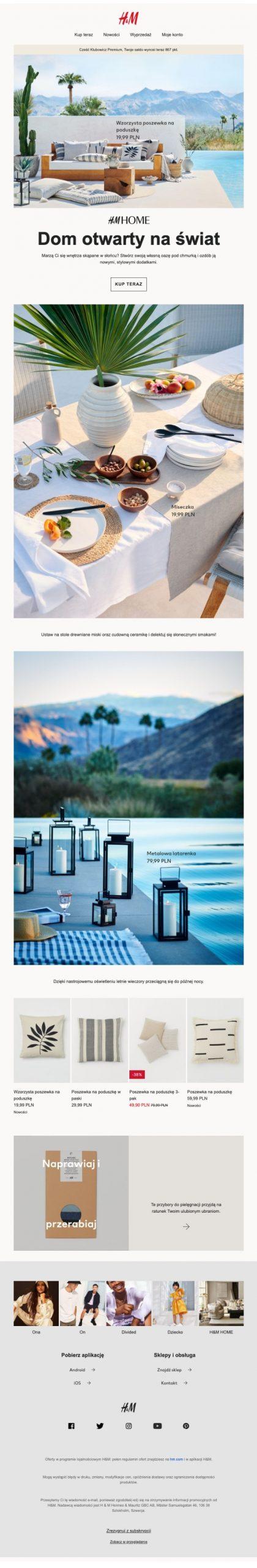 newsletter przykład użycia ładnych zdjęć, H&M