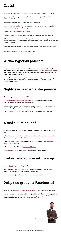 przykład newslettera tekstowego z zaproszeniem na szkolenia oraz zaproszeniem do społeczności - Artur Jabłoński